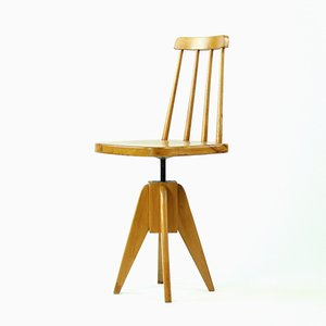 Czechoslovakian Wooden Swivel Piano Stool with Backrest, 1960s