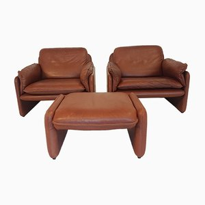 Two DS-61 Lounge Chairs & Ottoman from de Sede, 1970s