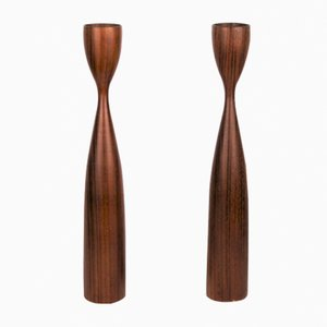 Scandinavian Teak Candleholders, 1960s, Set of 2