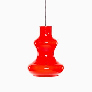 Mid-Century Italian Modern Red Murano Glass Pendant Lamp by Massimo and Lella Vignelli for Vistosi, 1960s