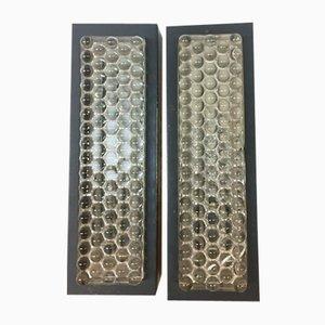 Rectangular Metal & Glass Sconces, 1970s, Set of 2