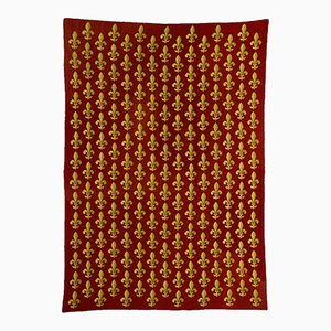 Antique Needlepoint Carpet in Red Wool with French Lily, France, 1870s