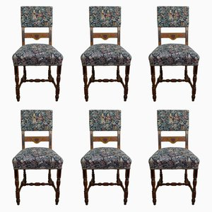 Antique German Oak Dining Chairs, Set of 6