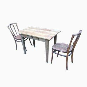 Antiker Bistrotisch mit 2 Stühlen von Jacob & Josef Kohn