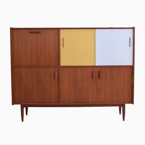Rosewood Highboard with Bar and Coloured Sliding Doors, 1960s