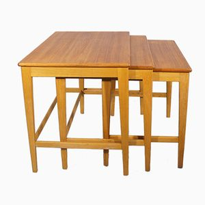 Teak & Oak Nesting Tables by Alf Svensson for AB Nybrofabriken, 1950s