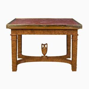 Antiker russischer Tisch aus Ulmenwurzel, Porphyr & Bronze