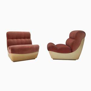 Space Age Sessel aus rosafarbenem Samt, 1970er, 2er Set