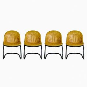 Chaises de Salle à Manger Pascale en Cuir & Acier par Gastone Rinaldi pour Thema, 1970s, Set de 4