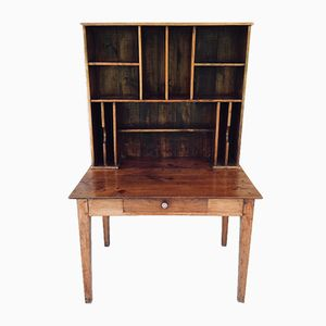 Antique French Mahogany Desk with Shelves