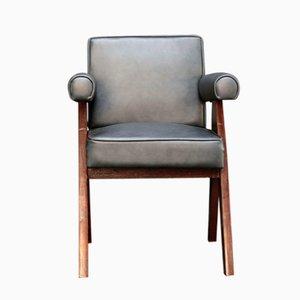 Chaise Committee en Cuir Noir par Pierre Jeanneret, 1950s