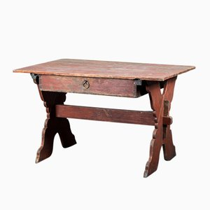 Antique Swedish Cross Leg Desk with Drawer