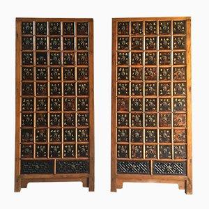 Armoires à Pharmacie Elm Antique, 1871, Set de 2