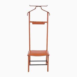 Valet en Cuir Synthétique Orange et Fer par Jacques Adnet pour Hermès, 1960s