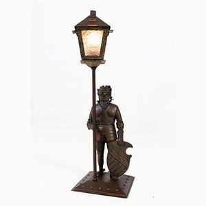 Arts & Crafts Ritter Tischlampe aus patiniertem Metall von Hugo Berger für Goberg, 1920er