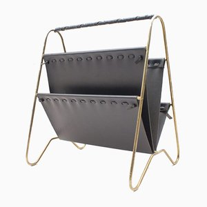 Austrian Leather & Brass Magazine Rack, 1950s