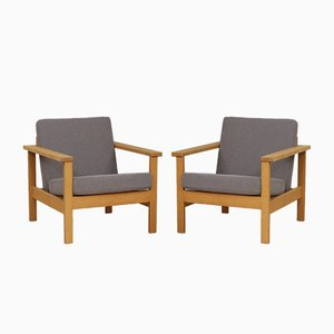 Lounge Chairs in Solid Oak, 1970s, Set of 2