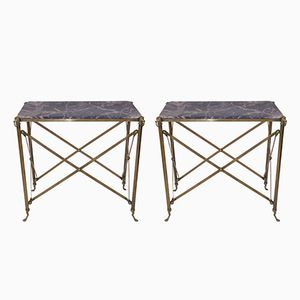 French Brass and Marble Console Tables, 1970s, Set of 2