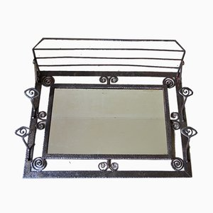 Art Deco Wrought Iron and Mirrored Glass Coat Rack