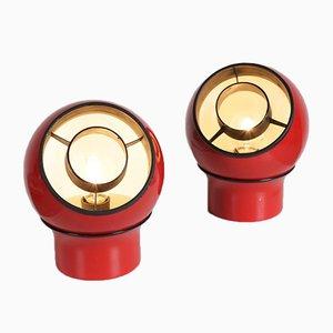 Rote Metall Tischlampen, 1970er, 2er Set