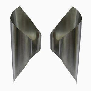 Französische gebürstete Metall Wandlampen, 1970er, 2er Set