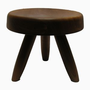 Vintage Elm Stool by Charlotte Perriand