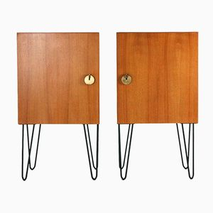 Tables de Chevet Mid-Century Modernes en Noyer, Set de 2