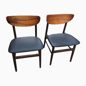Stühle in schwarzem Skai, 1960er, 2er Set