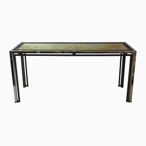 Vintage Aluminum & Golden Brass Console Table by Romeo Rega