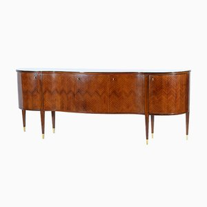 Mid-Century Curved Sideboard with Bronze Feet & Glass Top by Paolo Buffa for Serafino Arrighi, 1948