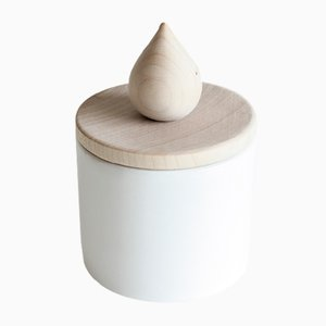 White Fiamma Candle Holder in Ceramic and Wood by Artful casacontemporanea