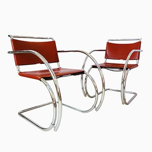 MR20 Armlehnstühle von Ludwig Mies van der Rohe für Knoll Inc., 1980er, 2er Set