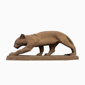 Panther Figur von Else Bach für Karlsruhe Majolika, 1930er