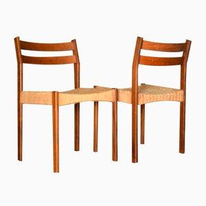 Dänische Esszimmerstühle aus Teak & Korbgeflecht von AB Tabergsmöbler, 1960er, 2er Set