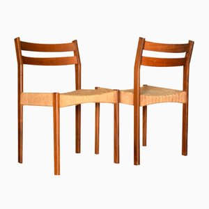 Danish Teak & Wicker Dining Chairs from AB Tabergsmöbler, 1960s, Set of 2