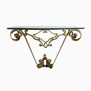 Italian Wrought Iron & Gold Leaf Console Table by Pier Luigi Colli, 1950s