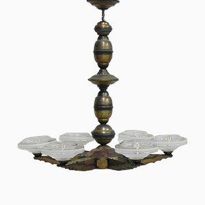 Art Deco Hängeleuchte mit 6 Glas Schalen
