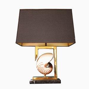 Messing Meeresschnecken Tischlampe, 1970er