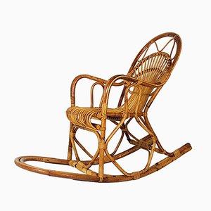 Rocking Chair Vintage en Osier de Bonacina, Italie, 1960s