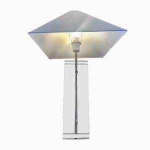 Lampe de Table en Verre Givré Gravé, Lucite et Laiton par Fredrick Ramond, 1980s