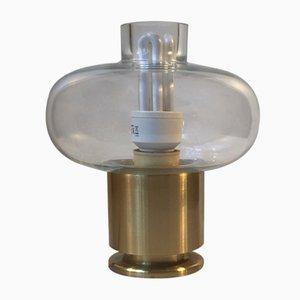 Scandinavian Modern Table Lamp in Brass & Glass from Fog & Mørup, 1970s