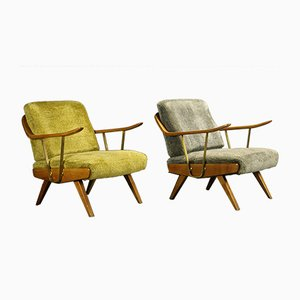 Mid-Century Lounge Chairs with Brass Details, Set of 2