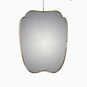 Mirror with Polished Brass Frame, 1950s