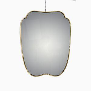Spiegel mit poliertem Messingrahmen, 1950er