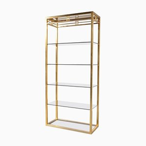 Belgian Brass & Smoke Glass Bookcase, 1970s