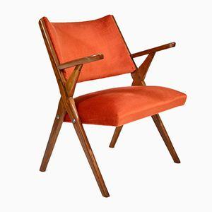 Italian Velvet Armchair from Dal Vera, 1950s