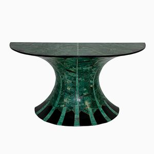Table Console Vintage en Malachite et Laiton, France