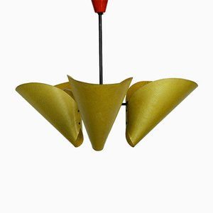 Mid-Century Modern Czech Metal Ceiling Lamp with Fiberglass Lampshades