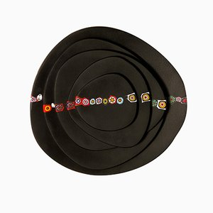 Color Rolling Stones Dishes in Murrine Murano Glass by Eliana Lorena for Hands On Design, Set of 5