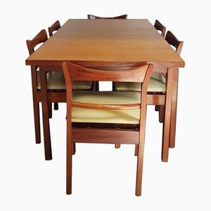 Ausziehbarer Mid-Century Teak Esstisch & 6 Stühle